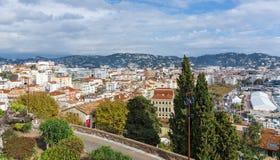 戛纳,法国全景  免版税图库摄影