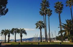 戛纳` s市中心口岸旋律和Californie地区  免版税库存照片