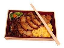 截去午餐路径的配件箱筷子 免版税库存图片