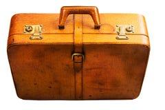 截去的包括的皮革路径手提箱葡萄酒 图库摄影