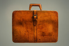 截去的包括的皮革路径手提箱葡萄酒 库存照片
