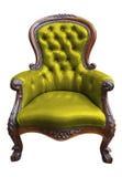 截去绿色皮革路径葡萄酒的扶手椅子 库存图片