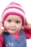 戴冬天帽子的女婴 免版税图库摄影