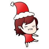 戴圣诞老人帽子的不死吸血鬼女孩的梯度动画片 库存例证