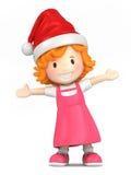 戴圣诞老人帽子的女孩 图库摄影