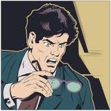 戴在手中眼镜的惊奇的商人 E 库存例证