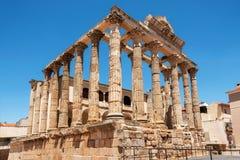 戴安娜在梅里达,巴达霍斯,埃斯特雷马杜拉,西班牙省著名罗马寺庙  图库摄影
