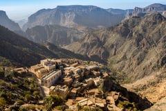 戴安娜观点在Jabal Akhdar Al哈吉尔山的阿曼山 库存图片