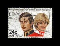 戴安娜Spencer夫人和查尔斯,澳大利亚王子婚姻,大约1981年 免版税库存图片