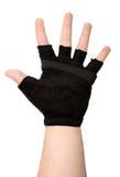 戴手套的人掌上型计算机s 免版税图库摄影