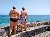 戴比基尼泳装和太阳镜在一个黑石墙上的两名妇女接近观看冲浪者做的海风帆冲浪在天际  免版税库存照片