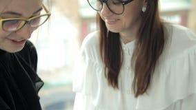 戴眼镜的两个年轻企业女孩在银行中工作并且谈论被完成的工作的结果 工作 事务 影视素材