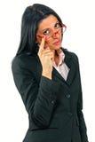 戴眼镜的女实业家 库存照片