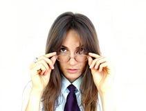 戴眼镜的女实业家 免版税库存照片