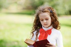 戴眼镜的小女孩读一本书的在公园 免版税库存照片