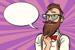 戴眼镜的时髦的有胡子的行家认为 库存例证