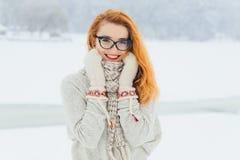 戴眼镜的美丽的微笑的红色顶头妇女在围巾被包裹在降雪期间在半身的森林里 免版税库存图片