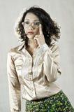 戴老眼镜14的亚裔女孩 免版税库存照片