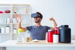 戴营养瓶子和虚拟现实眼镜的人 免版税库存照片