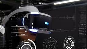 戴虚拟现实眼镜的一个少妇和一个未来派图形用户界面、全息图和HUD元素 向量例证
