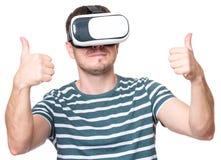 戴VR眼镜的人 免版税图库摄影