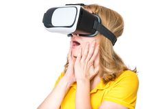 戴VR眼镜的妇女 图库摄影
