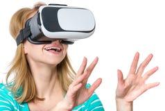 戴VR眼镜的妇女 免版税图库摄影