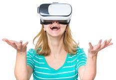 戴VR眼镜的妇女 免版税库存照片
