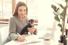 户内少妇自由职业者家庭办公室概念与狗的冬天大气 免版税图库摄影