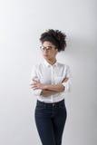 户内年轻女实业家 免版税库存图片