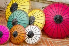 户外五颜六色的伞 图库摄影