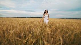 户外享受自然的秀丽女孩 白色礼服的运行在春天领域的,太阳光美丽的少年式样女孩 股票录像