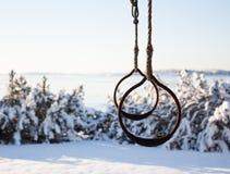 户外体操圆环在冬天 库存图片
