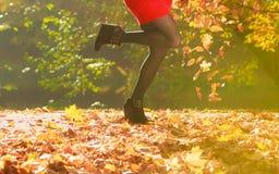 户外使用与叶子的嬉戏的妇女 库存图片
