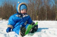 户外儿童平静的冬天 库存图片