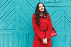 户外典雅和时髦的看起来的年轻可爱的新鲜的看起来的深色的妇女生活方式画象有红色嘴唇的在红色外套t 图库摄影