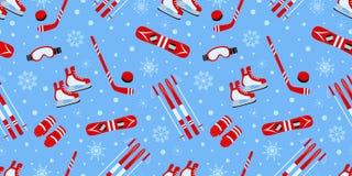 户外冬天背景 运动器材传染媒介无缝的样式 冰球,滑冰,滑雪,雪板运动重复 向量例证