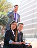 户外商业合作工作 免版税库存照片