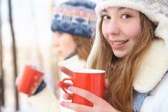 户外在一个冬日。女孩饮料茶。 库存图片