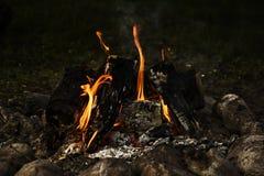 户外大营火、篝火与灼烧的煤炭和火焰 库存图片