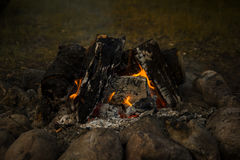 户外大营火、篝火与灼烧的煤炭和火焰 免版税图库摄影
