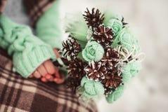 户外婚姻冬天的新娘新郎 库存照片