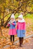 户外小可爱的女孩温暖的晴朗的秋天天 免版税库存图片