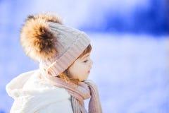 户外小逗人喜爱的小孩女孩在一个晴朗的冬日 免版税库存照片