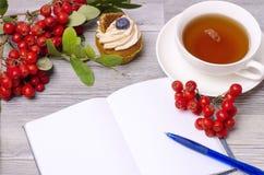 户外工作与一杯茶 免版税库存照片