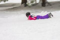户外幼儿男孩或女孩在与雪橇sle的冬天 免版税图库摄影
