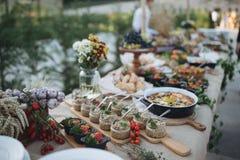 户外指叉桌用传统摩尔达维亚开胃菜 免版税库存图片