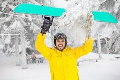 户外挡雪板滑稽的画象 免版税库存图片