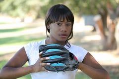 户外棒球黑色手套妇女年轻人 库存图片