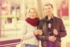 户外爱恋的年长夫妇画象  库存照片